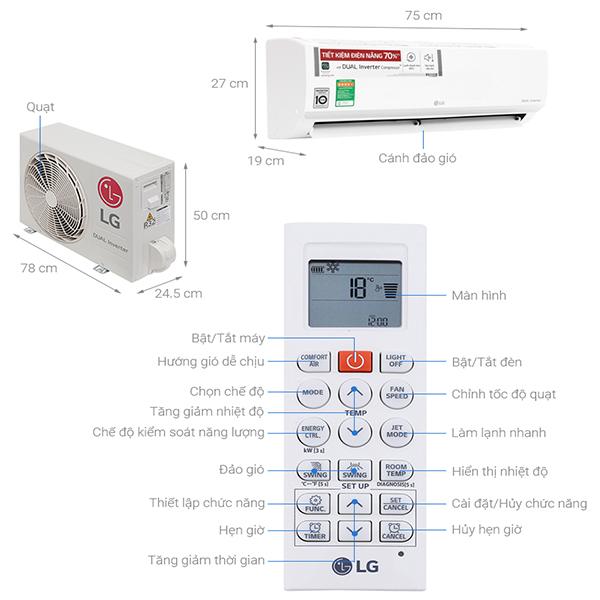 Thông số kỹ thuật điều hòa LG V10ENW