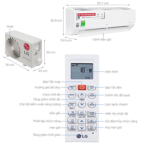 Thông số kỹ thuật máy điều hòa LG V13ENS