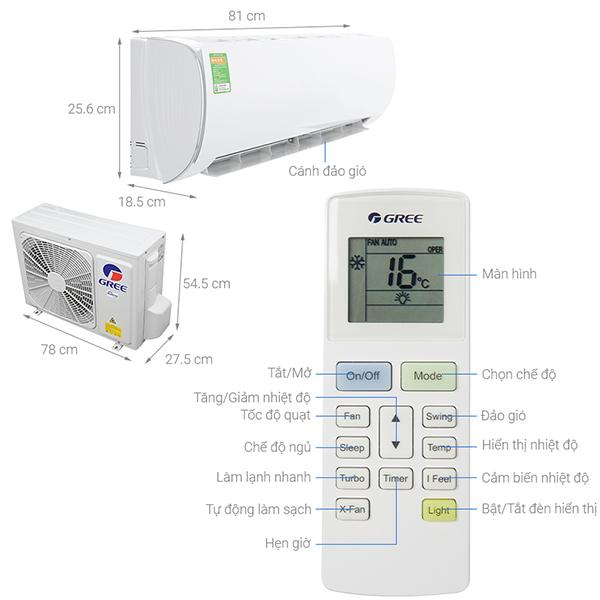 Thông số kỹ thuật  điều hòa Gree GWC09FB-K6D9A1W