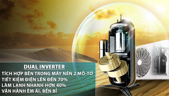 Máy nén dual inverter tiết kiệm điện năng