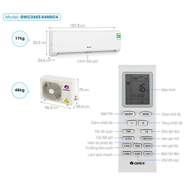 Thông số kỹ thuật điều hòa Gree GWC24KE-K6N0C4