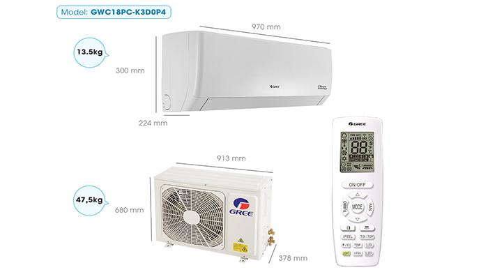 Thông số kỹ thuật máy điều hòa gree GWC18PC-K3D0P4