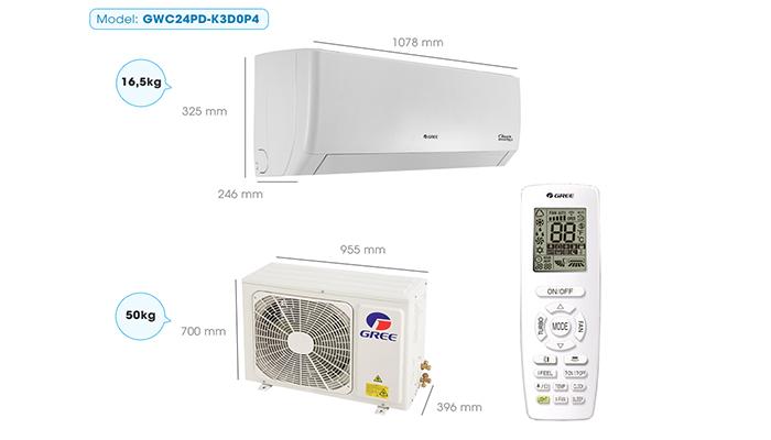 Thông số kỹ thuật máy điều hòa gree GWC24PD-K3D0P4