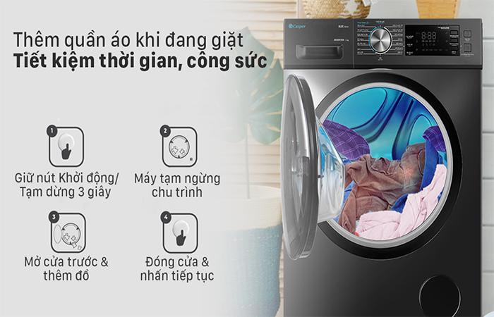 Chức năng cho thêm đồ giặt của máy giặt casper